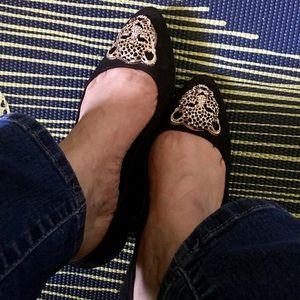 Rock & Republic Black Flats Size 8 with gold lion